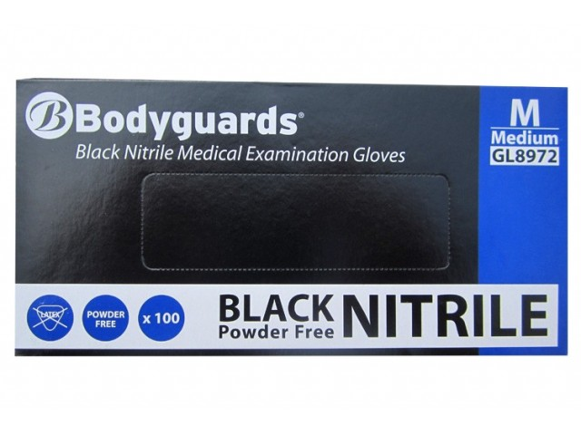 Bodyguards Black Nitrile 100 Pack Medium Gloves