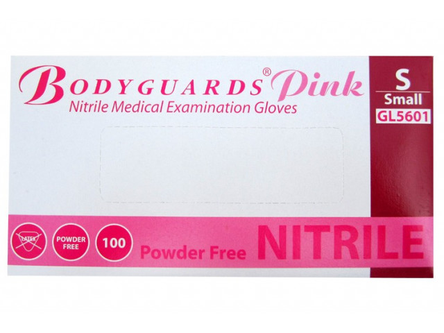 Bodyguards Pink Nitrile 100 Pack Small Gloves